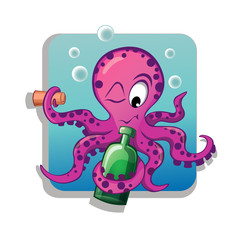 Cartoon octopus with bottle