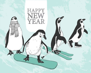 Happy New Year congratulation card. Sports penguins