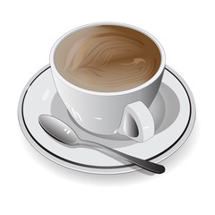 white  cup of coffee on white background,Vector Illustration