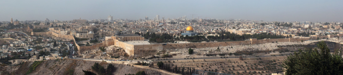 Panorama of central Jerusalem, Israel. View from the Mount of Ol