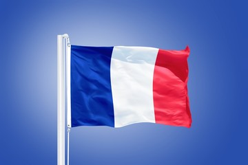 Flag of France flying against a blue sky