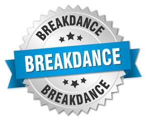 breakdance 3d silver badge with blue ribbon