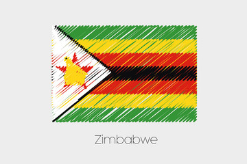 Scribbled Flag Illustration of the country of Zimbabwe