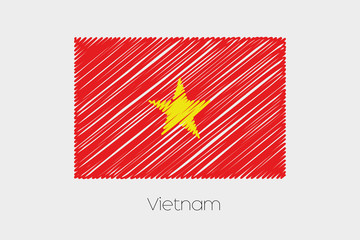 Scribbled Flag Illustration of the country of Vietnam