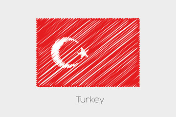 Scribbled Flag Illustration of the country of Turkey