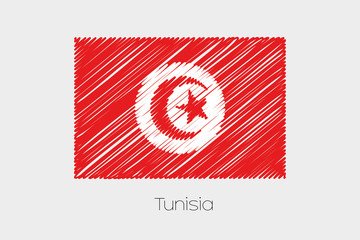 Scribbled Flag Illustration of the country of Tunisia