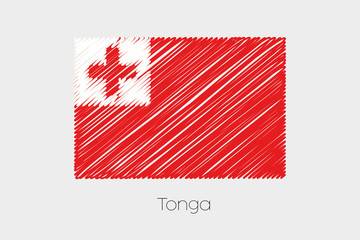 Scribbled Flag Illustration of the country of Tonga
