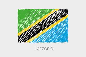 Scribbled Flag Illustration of the country of Tanzania