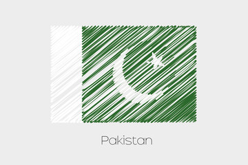 Scribbled Flag Illustration of the country of Pakistan