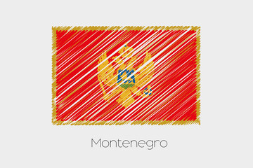 Scribbled Flag Illustration of the country of Montenegro