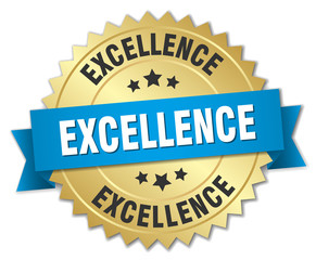 excellence 3d gold badge with blue ribbon