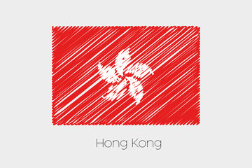Scribbled Flag Illustration of the country of Hong Kong