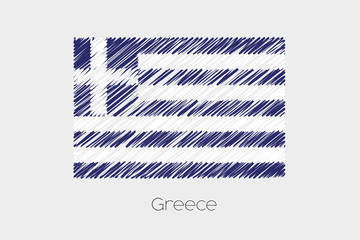 Scribbled Flag Illustration of the country of Greece