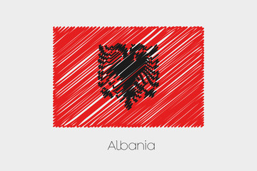 Scribbled Flag Illustration of the country of Albania