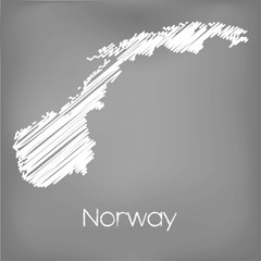 Scribbled Map of the country of Norway