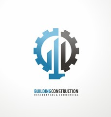 Building construction and engineering logo design concept
