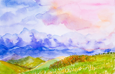 mountain landscape with colorful sky watercolor painted
