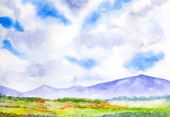 mountain landscape with blue sky watercolor painted