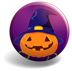Halloween badge with pumpkin wearing witch hat