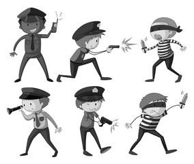 Police and thieves in black and white