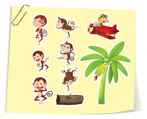 Monkeys and banana tree