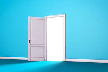 Blue Open Door with Light. Interior room entrance 3D render.