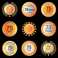 celebrating anniversary button orange on black background