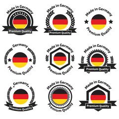 Made in Germany labels and badges. Made in Germany logo set