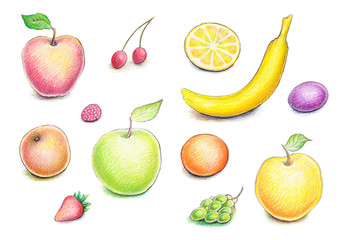 Collection of artistic hand drawn fruits and berries