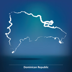 Doodle Map of Dominican Republic