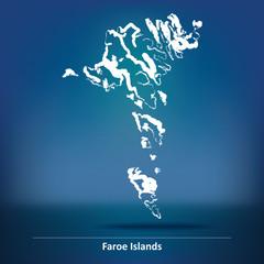 Doodle Map of Faroe Islands