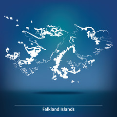 Doodle Map of Falkland Islands