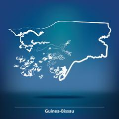 Doodle Map of Guinea-Bissau