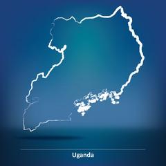 Doodle Map of Uganda
