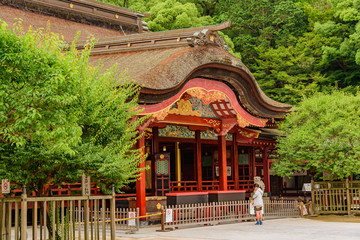 Dazaifu FUKUOKA, JAPAN -June  23. 2015:  Dazaifu shrine Wall mural
