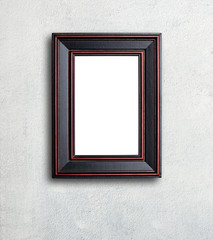 Picture frame on white wall.