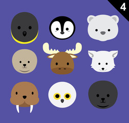 Flat Animal Faces Icon Cartoon Vector Set 4 (Arctic)