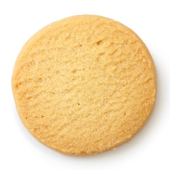Poster Koekjes Single round shortbread biscuit isolated on white from above.