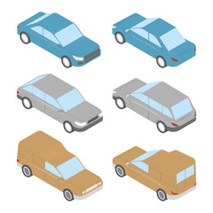 Set of isometric cars