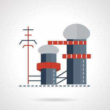 Biomass power plant flat vector icon