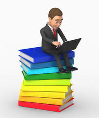 man sitting on a pile of books; working with a laptop