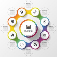 Infographic design template. Business concept. Colorful circle with icons. Vector illustration