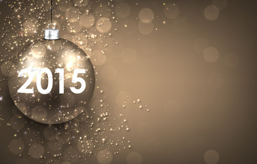 2015 New year golden background with bauble.