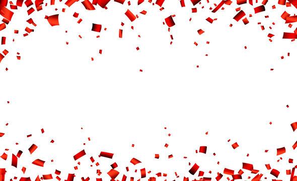 Red confetti celebration banner.