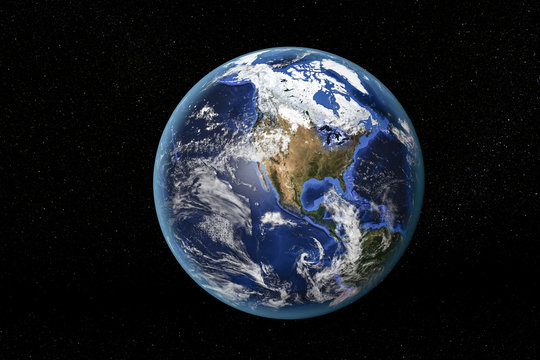 Detailed view of Earth from space, showing North America. Elements of this image furnished by NASA
