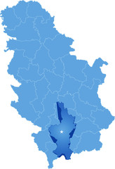 Map of Serbia, Subdivision Kosovo District
