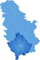 Map of Serbia, Autonomous Province of Kosovo and Metohija