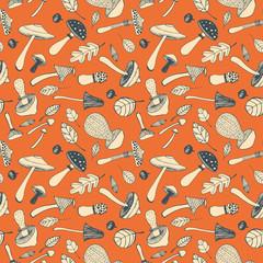 Hand drawn doodle  mushroom  seamless pattern.