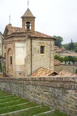 Monforte d'Alba: the village church. Color image