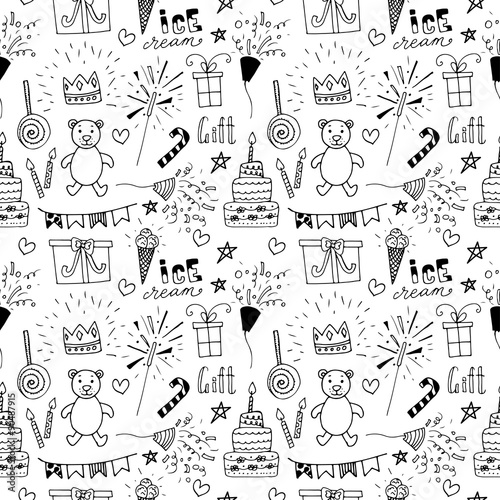 doodle birthday party background seamless pattern stock image and